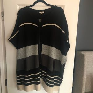 + CASLON + Zip Front Sweater Poncho